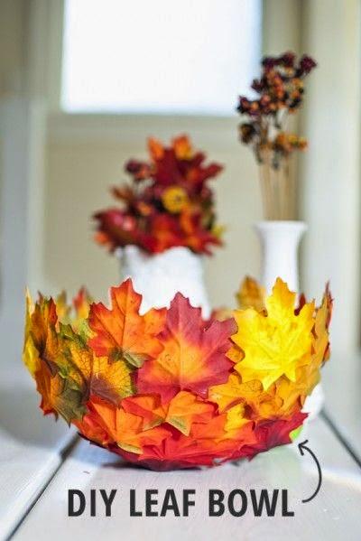 Cuenco hojas decoupage