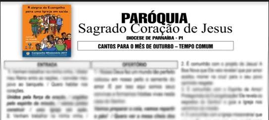 CLIQUE E BAIXE OS CANTOS DO MÊS DE OUTUBRO