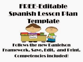 http://www.teacherspayteachers.com/Product/FREE-Editable-Spanish-Lesson-Plan-Template-Danielson-Framework-723602
