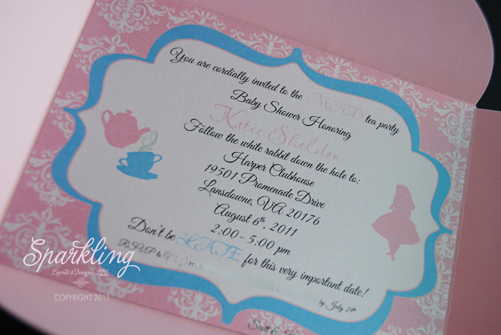 Sparkling Events & Designs: {Real Invitations} Alice in Wonderland ...