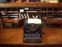 An antique mechanical typewriter