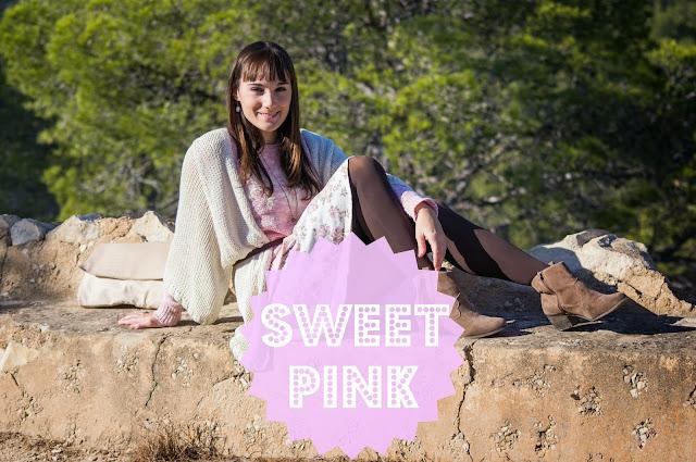 aigües de bussot, alicante, blog alicante, blog moda, botas, cardigan, color rosa, estampado flores, flecos, flower print, look otoño, rosa pastel, sweet pink, tendencia, tonos nude,
