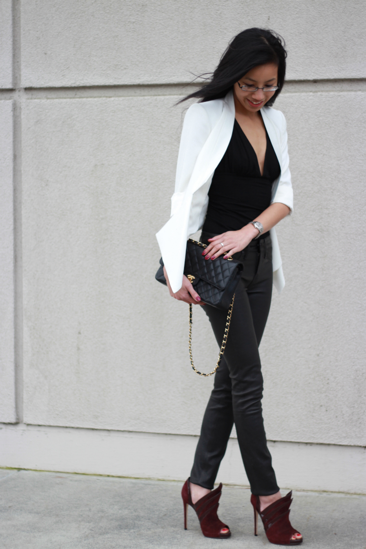 black white trend fall winter outfit idea