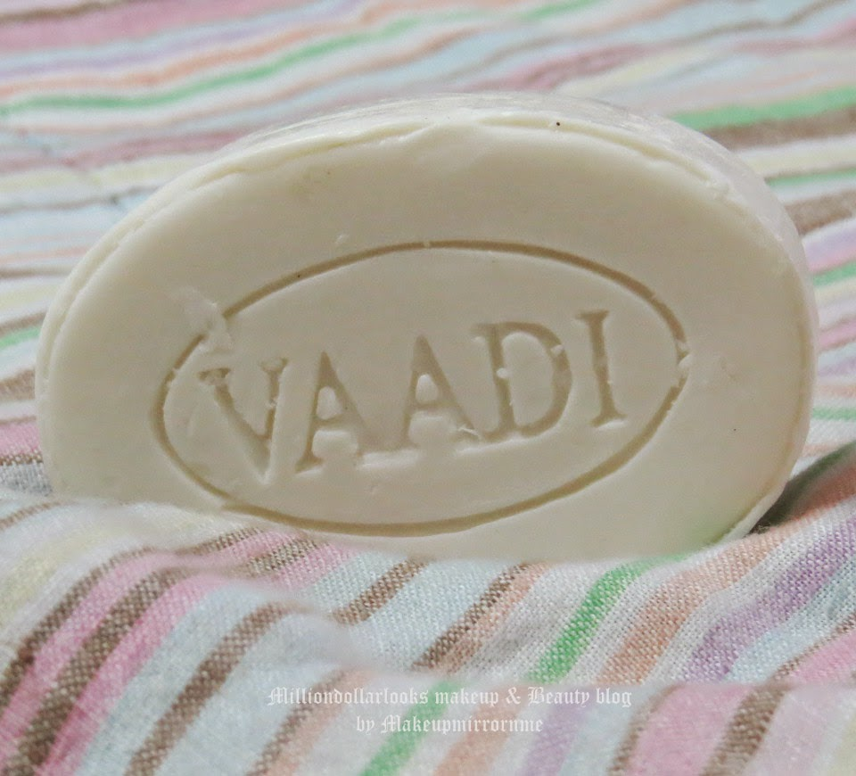 Vaadi Herbals Lavish Almond Handmade Soap Review and Pictures, Indian beauty blogger, Indian makeup and beauty blog, Vaadi herbals Handmade soap range review, Vaadi herbals products review, Almond soap, Handmade herbal soaps available in India, Bath soaps, Bath and body products in India, Milliondollarlooks makeup and beauty blog by makeupmirrornme