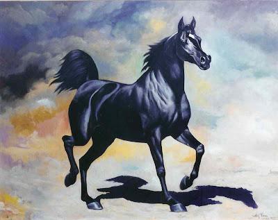 Arab Black Horse Free Desktop Wallpaper