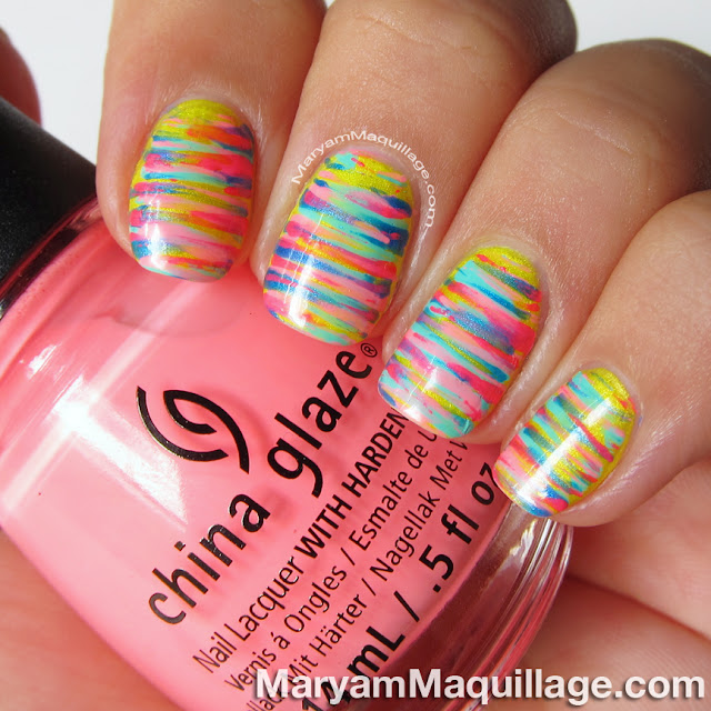 "Toothpick Nail Art Designs: Maryam Maquillage: Neon ""Painterly Stripes"" Nail Art"