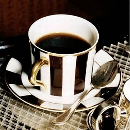 espresso in black and white striped cup