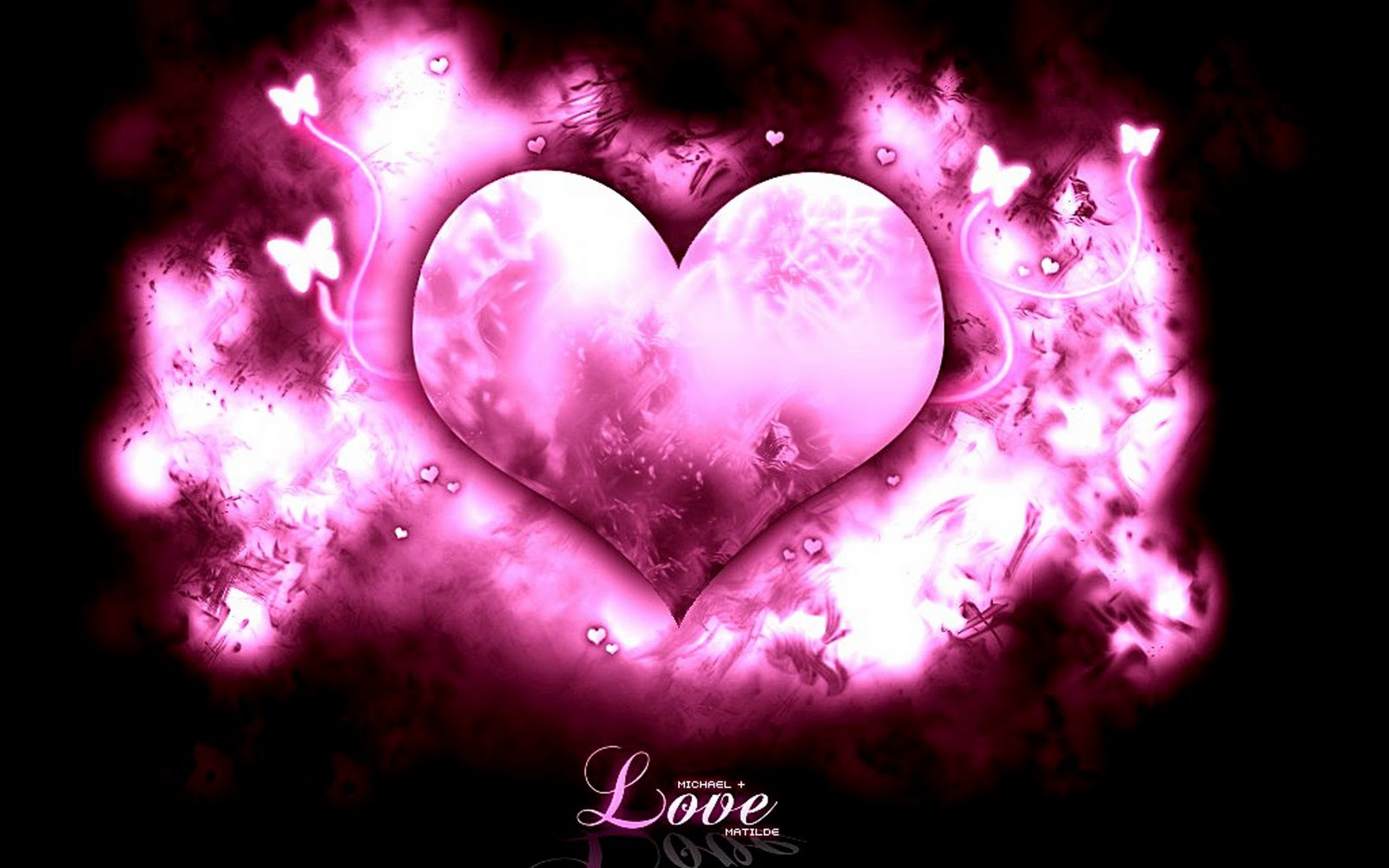 ... heart with pink shades and black background and love texture wallpaper