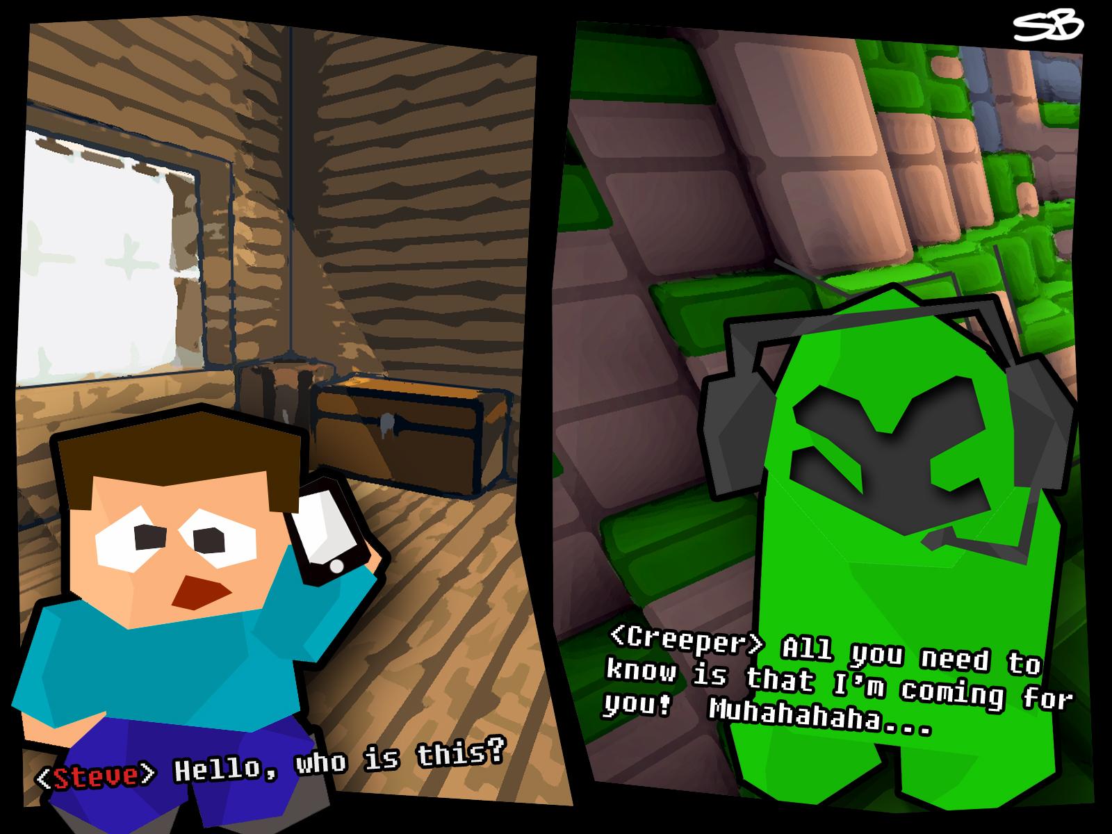 Bored steve minecraft comic creeper phone call - Minecraft creeper and steve ...