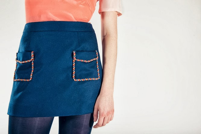 Rachel Antonoff, fall 2013 collection, embroidered pockets, pocket, blue skirt, mini skirt, details, detailed view, A Coin For the Well
