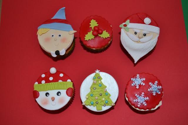 cupcakes decorados Navidad fondant papa noel