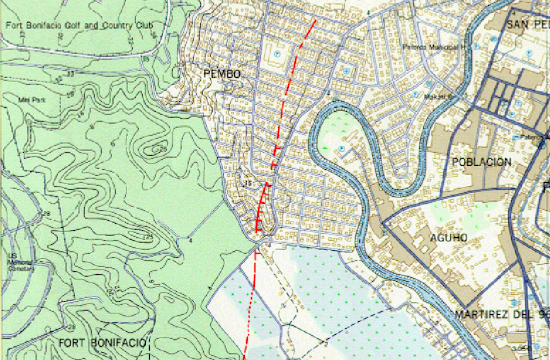 PHIVOLCS fault line map for Makati City and Taguig City