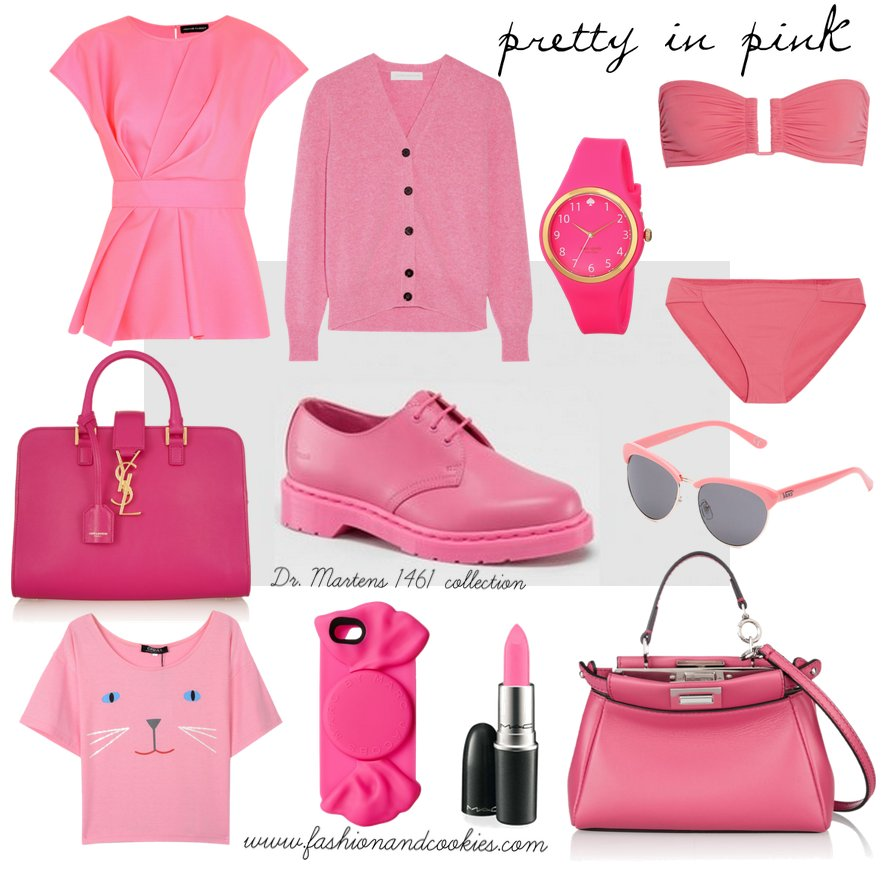 Monochrome pink looks with Dr Martens shoes on Fashion and Cookies fashion blog, fashion blogger style