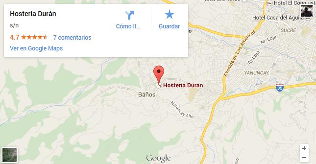 como llegar a la hosteria duran de Cuenca mapa