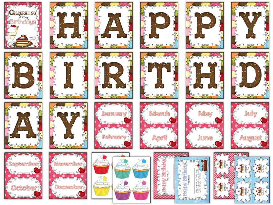 http://www.teacherspayteachers.com/Product/Celebrating-Yummy-Birthdays-142308