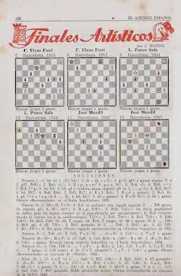Sección de Finales Artísticos de la revista Ajedrez Español nº 4 - diciembre 1955