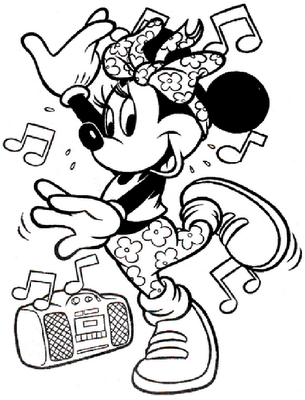 Minnie Mouse Hip Hop Dance Coloring Pages