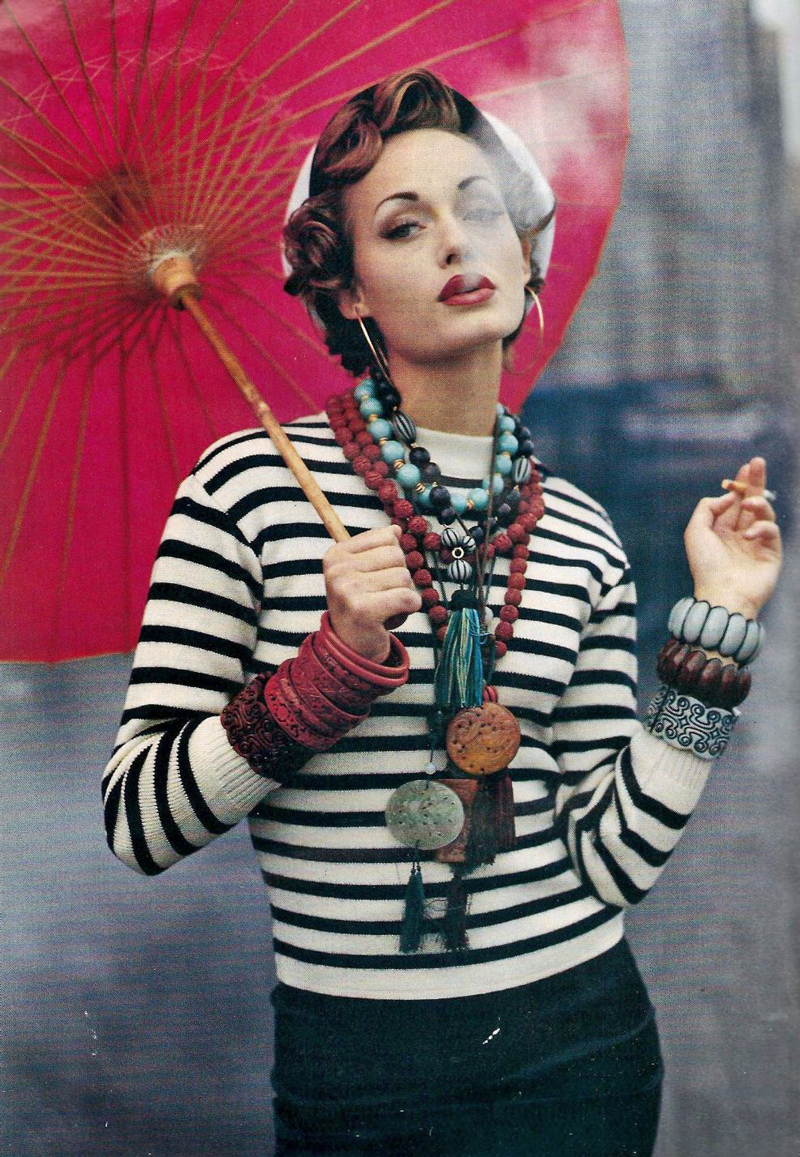 Breton top / how to style breton top / story of breton stripes / Amber Valletta in Elle France November 1992 (photography: Tiziano Magni) via fashioned by love british fashion blog