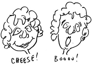 Charming line art sketches of a woman saying Cheese and Boo, showing the different positions of her lips for each