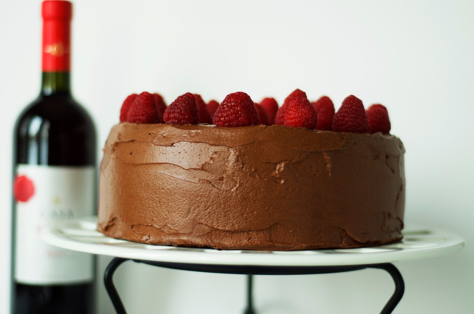 Dark Chocolate Raspberry Birthday Cake