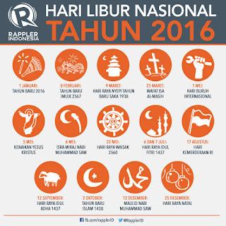 Daftar Lengkap Libur Nasional dan Cuti Bersama Tahun 2016 www.guntara.com