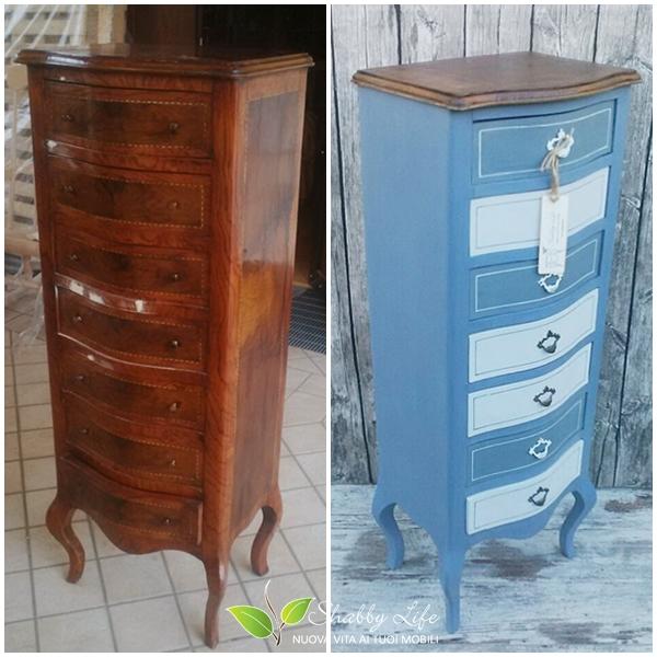 prima e dopo recupero creativo di un mobiletto
