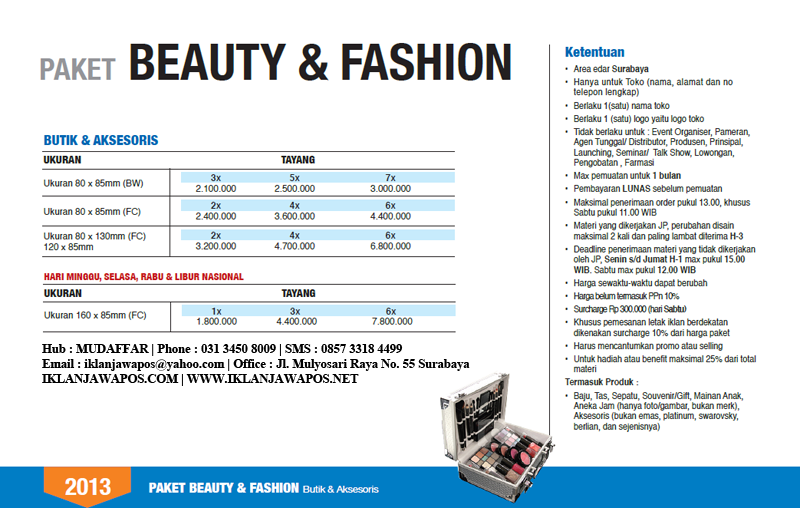 Jawa Pos Iklan Paket Beauty And Fashion 2013
