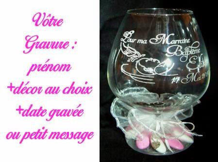 Gravure sur verre verre grav flute grav e mariage bapteme cadeau parrain marraine photo - Idee cadeau pour papy ...