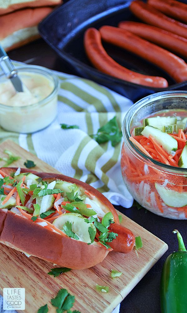 Banh Mi Hot Dog recipe | by Life Tastes Good is inspired by the Banh Mi Vietnamese sandwich and takes the humble hot dog to a whole new level of gourmet deliciousness!