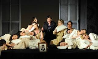 Sara Fulgoni (Polina) & chorus, Queen of Spades - Grange Park Opera 2012 (Photography: Alastair Muir)