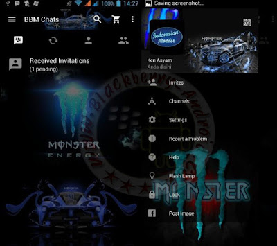 BBM Monster Energy Blue Themes Mod New Versi 2.11.0.16