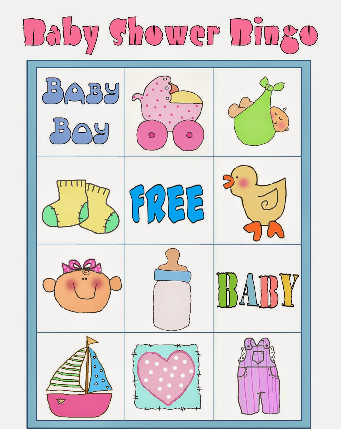 bingo en colores para baby shower para imprimir gratis