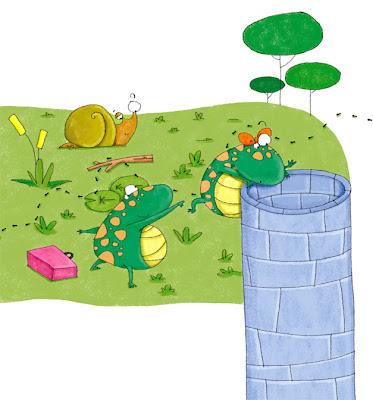ilustracón de ranas para libro de texto