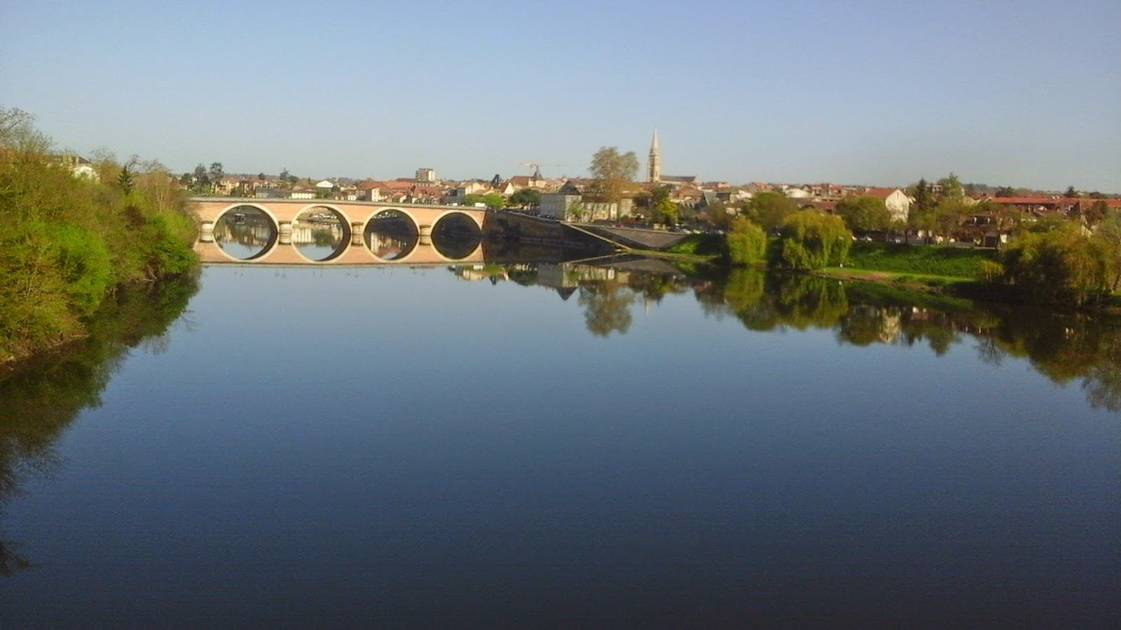 bergerac, bridge, river, dordogne, blue