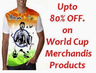 Shopclues : Buy World Cup Merchandise- T-shirts, Cap, Bottles Upto 80% OFF
