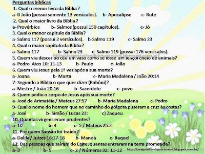 Perguntas bíblicas para gincana