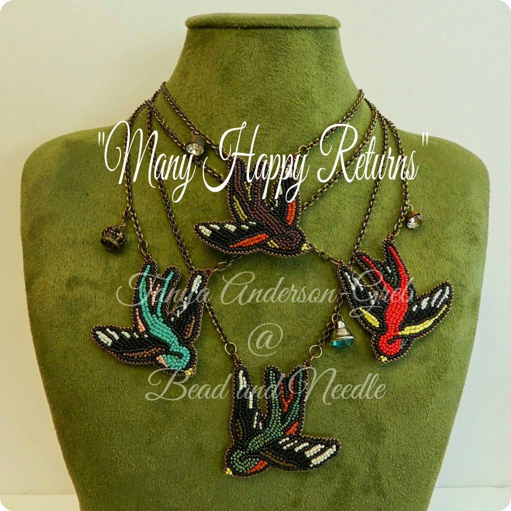 Sweet Swallow Necklaces ~ Bead embroidered ~ LIMITED EDITION
