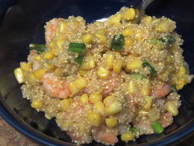 Lemony Quinoa Shrimp w/corn and green onions - perfect for a spring/summer party!