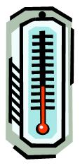 a thermometer /the temperature