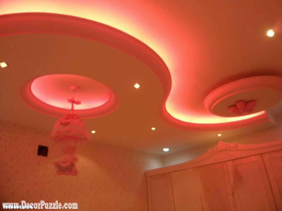 cool pop false ceiling design for nursery or kids room with led ceiling lights