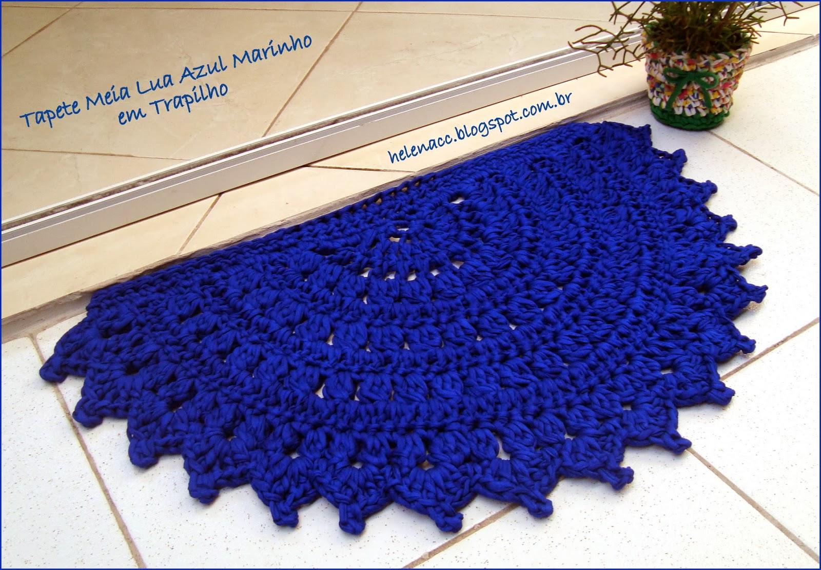 Tapete Meia Lua Azul Marinho em Trapilho tutorial de croche #1D2BAE 1600 1110