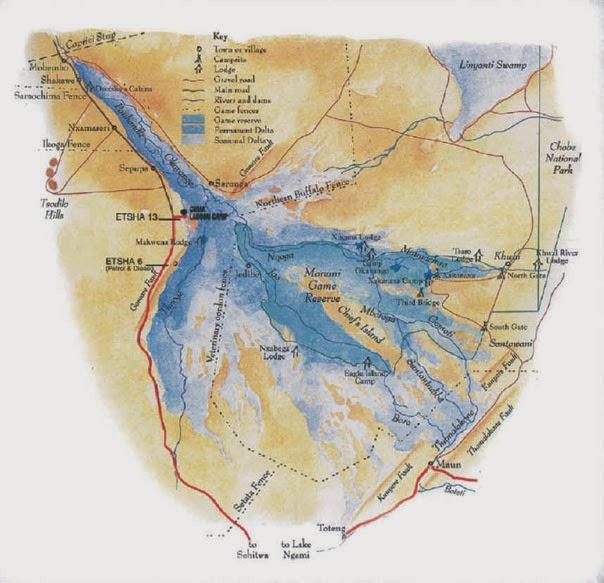 Delta Del Okavango Mapa Mapa Del Delta Del Okavango