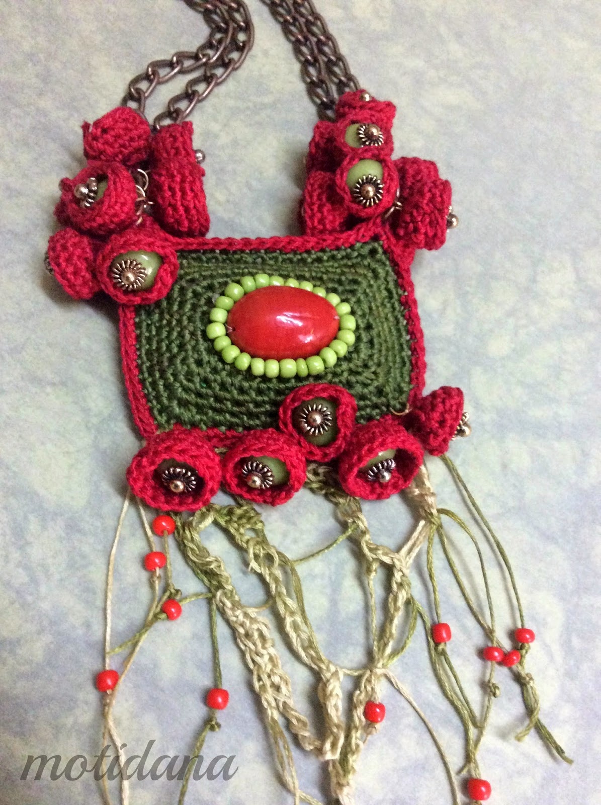 coral, and beads in crochet