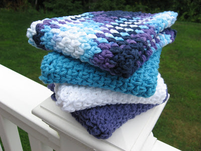 Blue/Purple/White Crocheted Cotton Dish/Wash Cloths
