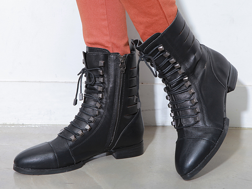 Stud Knot Lace Up Boots