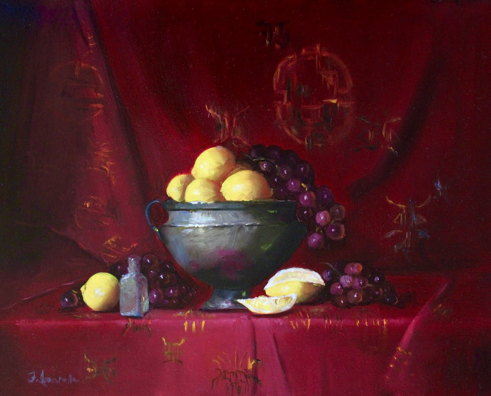 Lemons And Grapes In A Silver Bowl