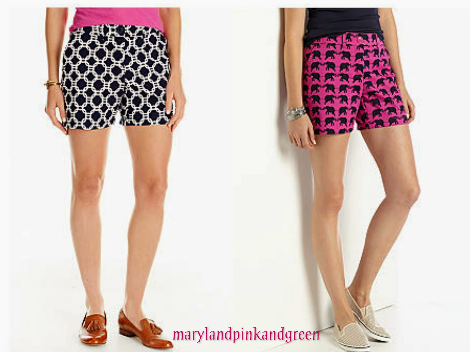 preppy pink elephant shorts