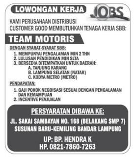 Lowongan Kerja TEAM MOTORIS Lampung