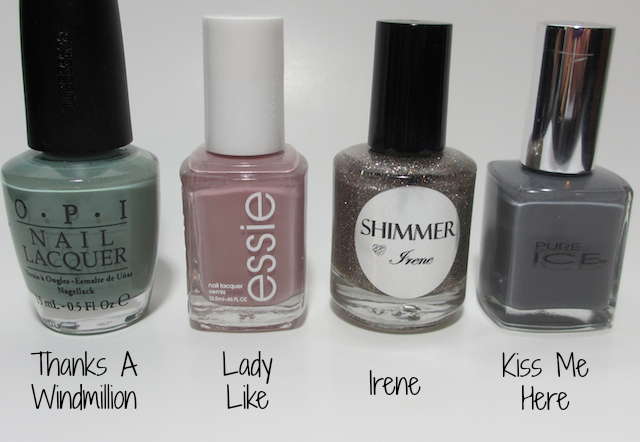 Essie Lady Like OPI Thanks A Windmillion, Shimmer Irene, Pure Ice Kiss Me Here