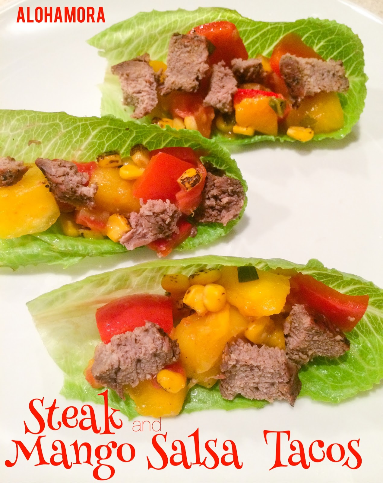 Steak and Mango Salsa Tacos are fast and easy to make on the grill.  This healthy diet friendly meal perfect for a summer/spring, or anytime of year with a grill pan.  Alohamora Open a Book http://www.alohamoraopenabook.blogspot.com/ gluten free, dairy free, nut free, healthy, delicious, fast, quick, easy
